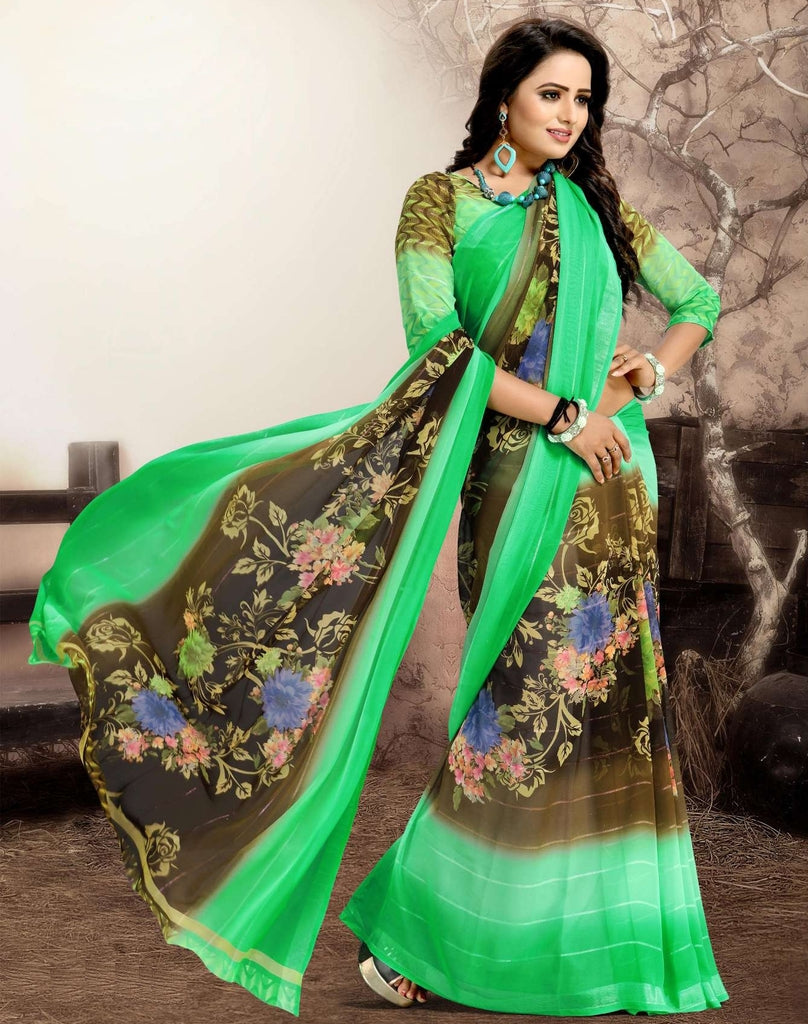 Green Color Chiffon Kitty Party Sarees : Navnisha Collection  NYF-1172 - YellowFashion.in