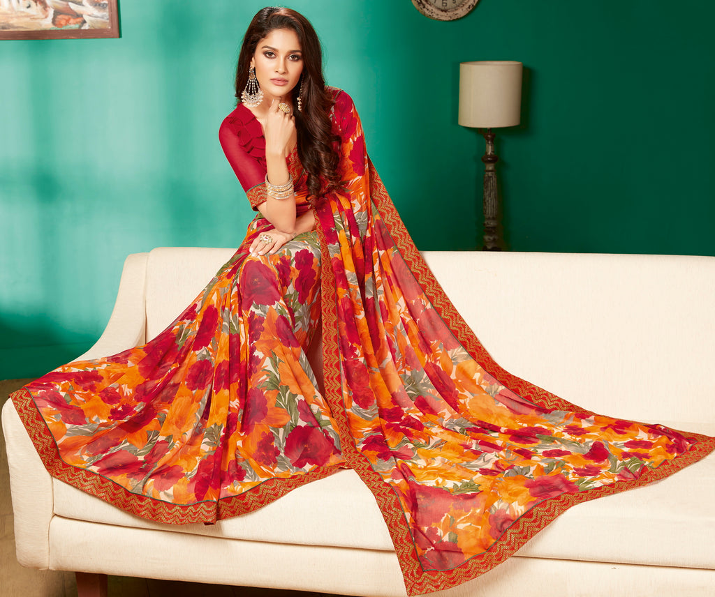 Multi Color Georgette Pretty Casual Sarees NYF-4986