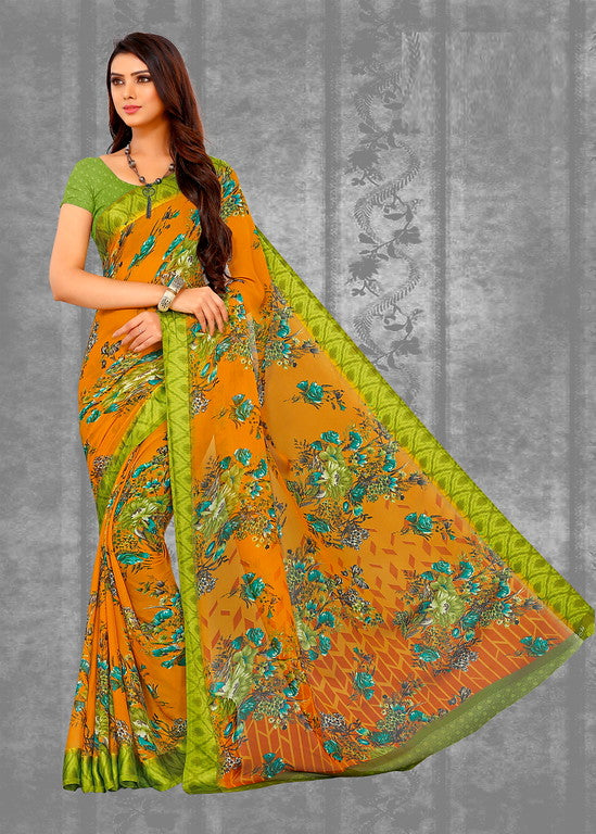 Orange and Green Color Chiffon Satin Border  Casual Wear saree -Nigha Collection YF#10254