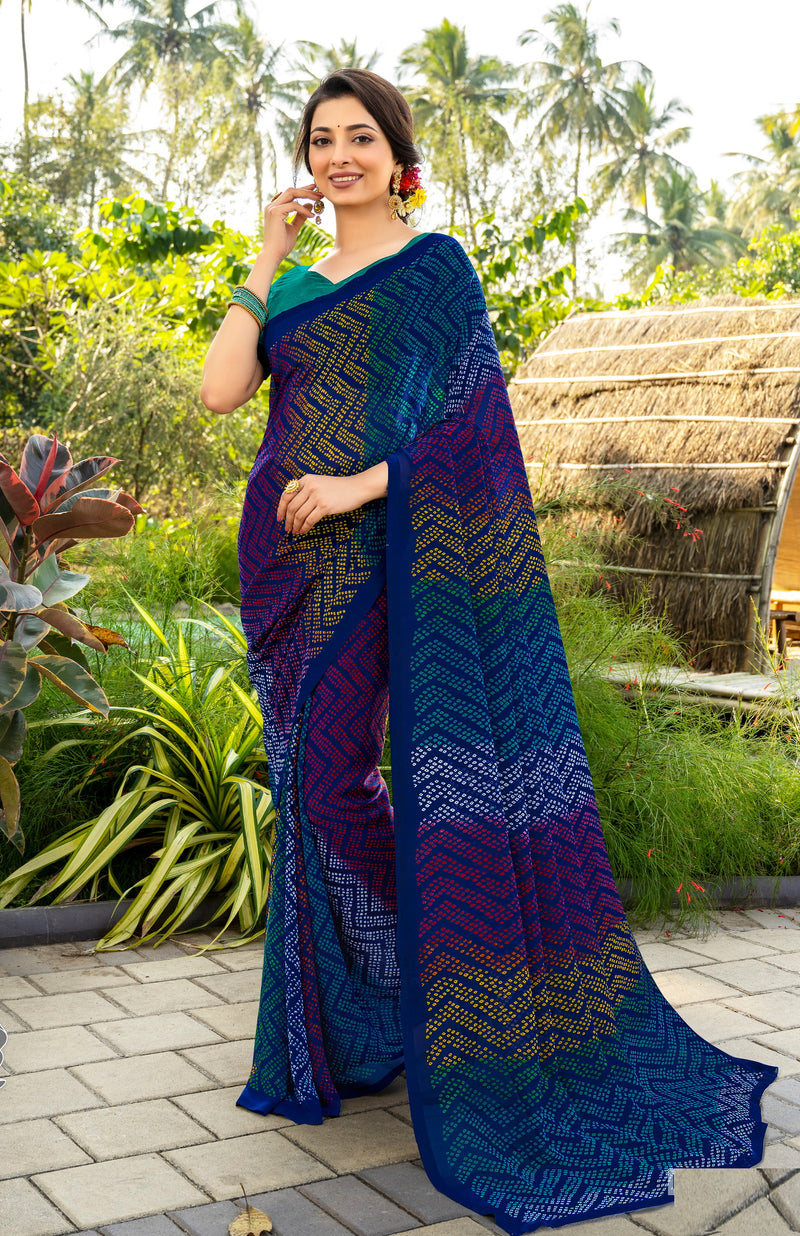 Blue Color Italian Crepe  Casual Wear Saree -  Keyaa Collection YF#10393