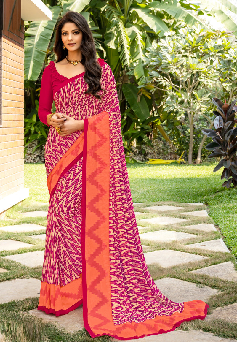 Pink and Orange Color Italian Crepe  Casual Wear Saree -  Keyaa Collection YF#10394