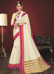 Off White & Rani Pink Color Kochampalli Silk Festive Wear Sarees : Atishay Collection  YF-50037