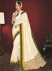 Off White & Green Color Kochampalli Silk Festive Wear Sarees : Atishay Collection  YF-50038
