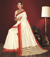 Off White & Red Color Kochampalli Silk Festive Wear Sarees : Atishay Collection  YF-50039