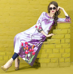 Lavender Color Rayon Readymade Party Wear Kurtis ( Sizes - 38, 40, 42, 44 ): Kriyansh Collection  YF-51719