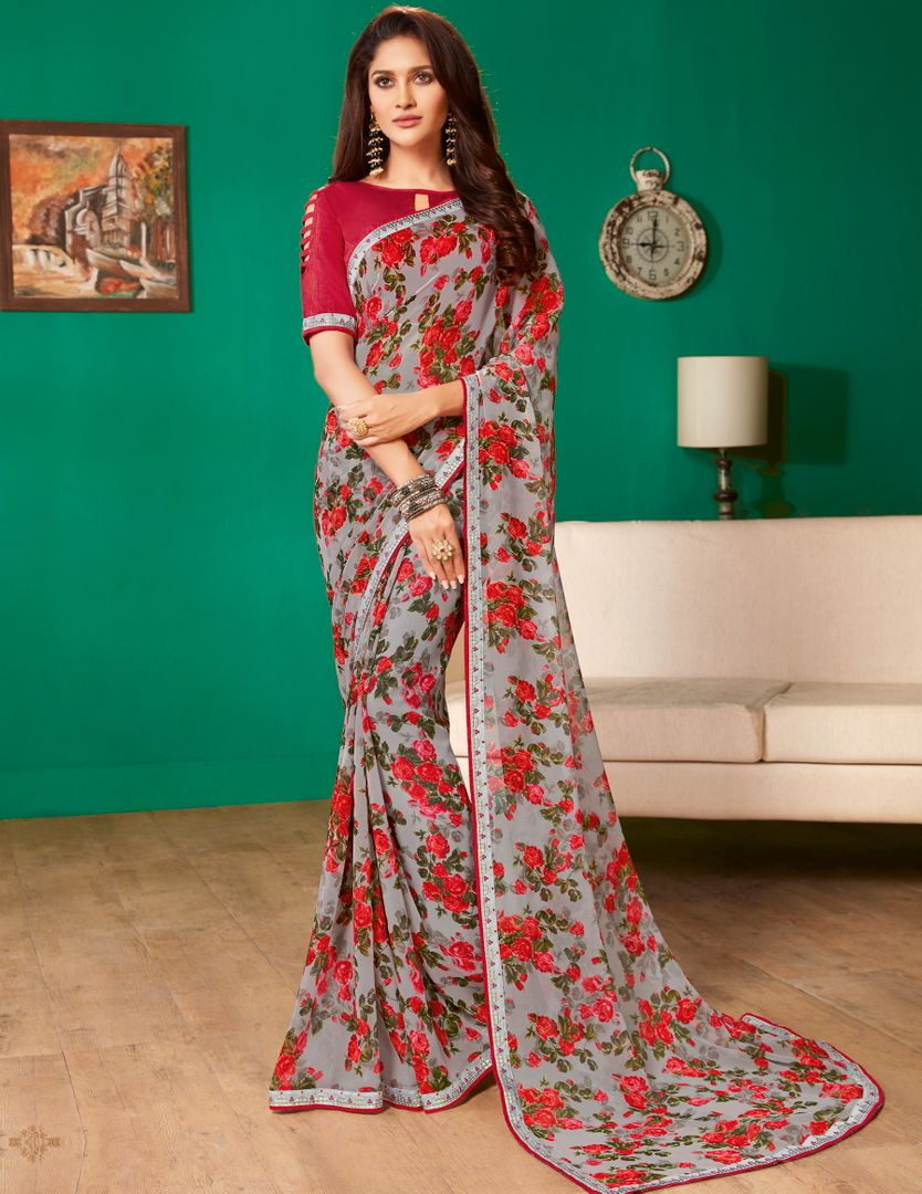 Grey Color Georgette Pretty Casual Sarees NYF-4987