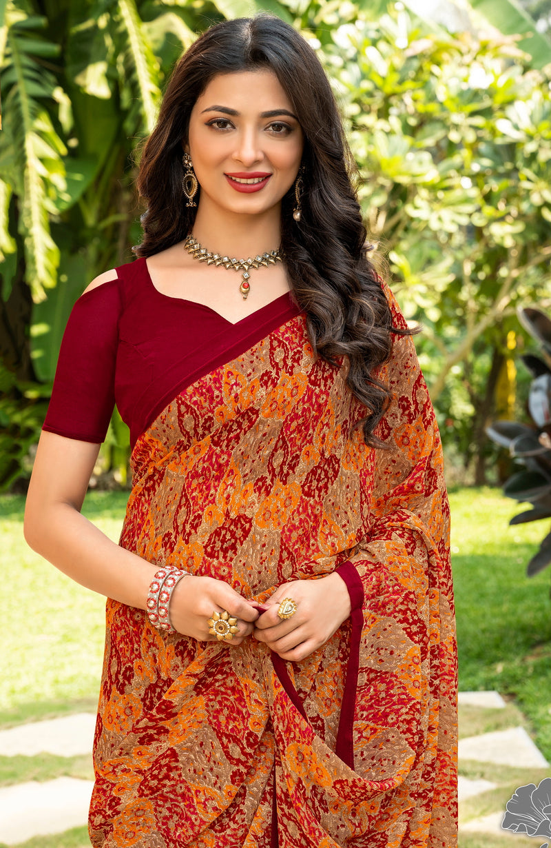 Red and Orange  Color Italian Crepe  Casual Wear Saree -  Keyaa Collection YF#10396
