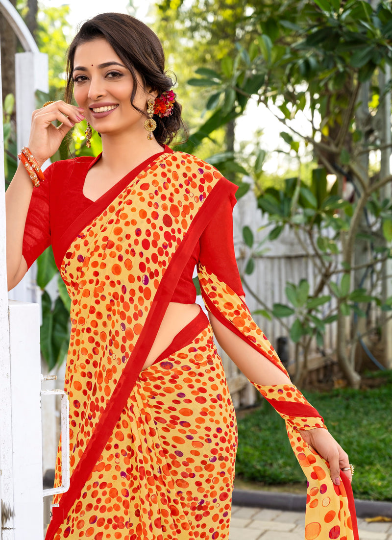 Yellow and Red Color Italian Crepe  Casual Wear Saree -  Keyaa Collection YF#10404