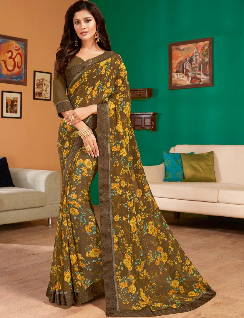 Mehendi Green Color Georgette Pretty Casual Sarees NYF-4988