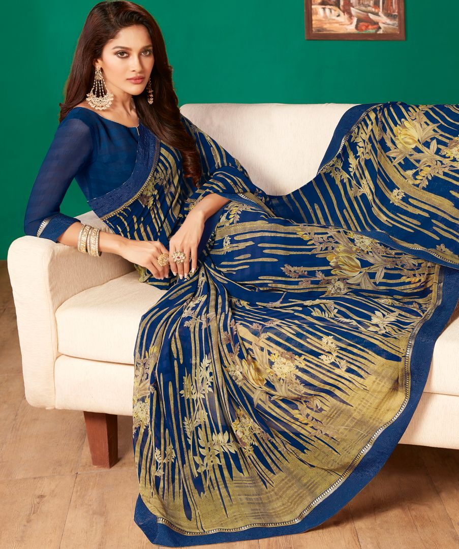 Blue Color Georgette Pretty Casual Sarees NYF-4989