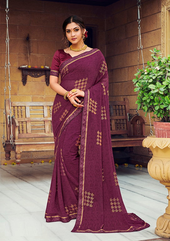 Plum Color Georgette with Foil Print Kitty Party Wear Saree - Devina Collection YF#11075