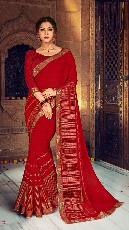 Red Color Georgette with Foil Print Kitty Party Wear Saree - Devina Collection YF#11076