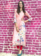 Peach Color Rayon Readymade Party Wear Kurtis ( Sizes - 38, 40, 42, 44 ): Kriyansh Collection  YF-51727