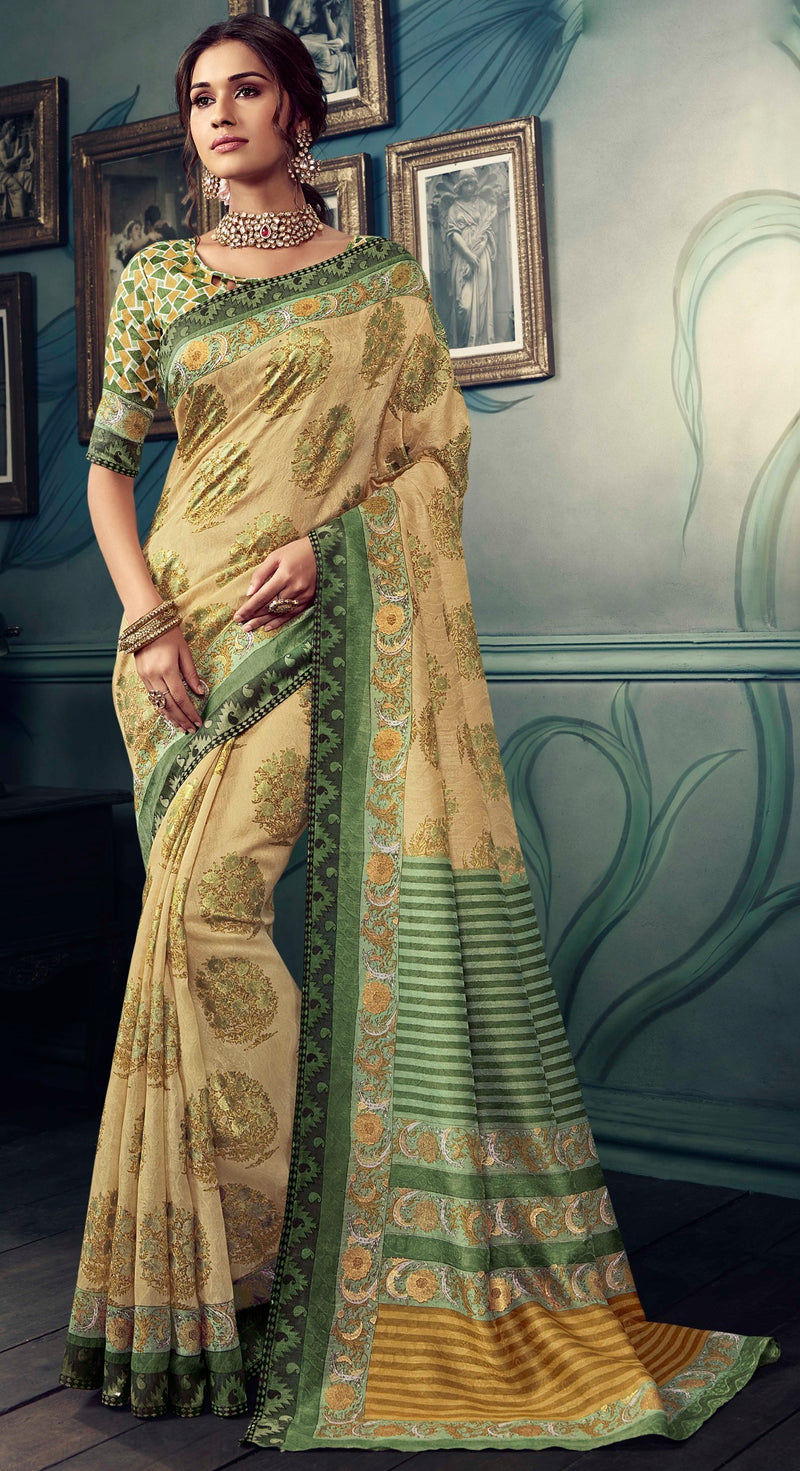 Cream & Green Color Bhagalpuri Festive & Party Wear Sarees NYF-8602
