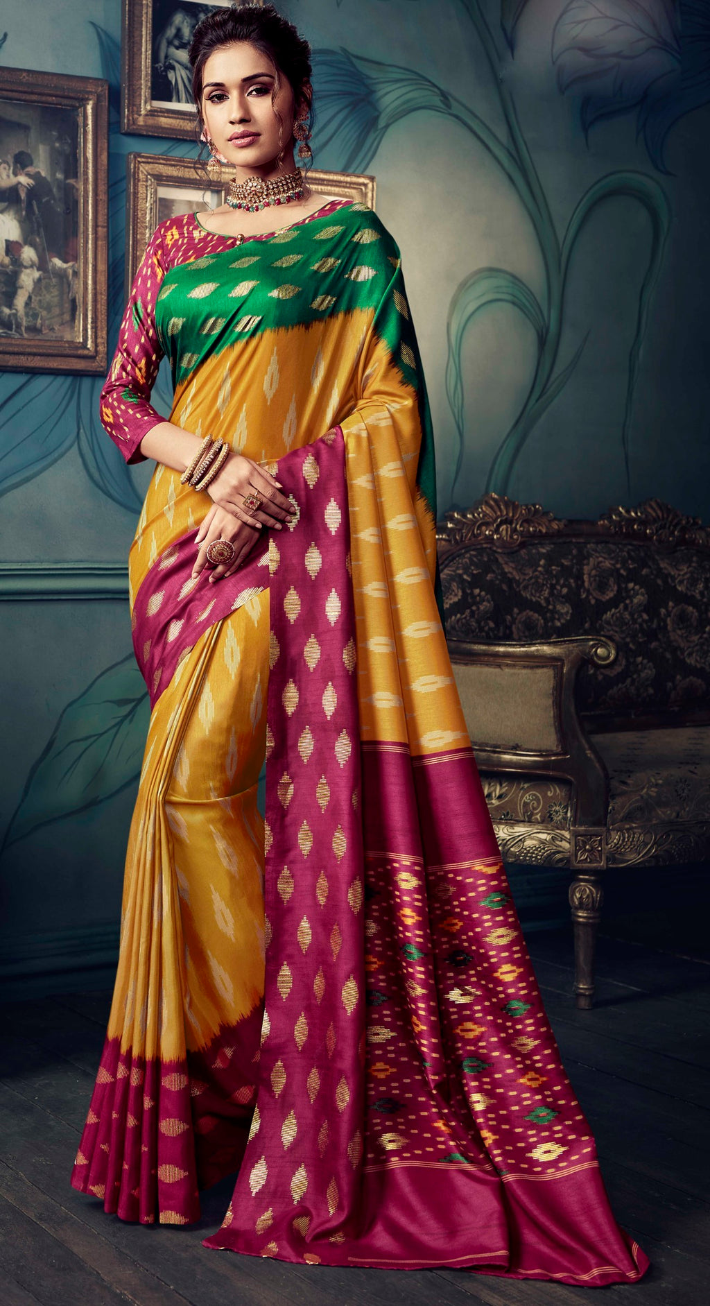 Yellow & Pink Color Bhagalpuri Festive & Party Wear Sarees NYF-8603