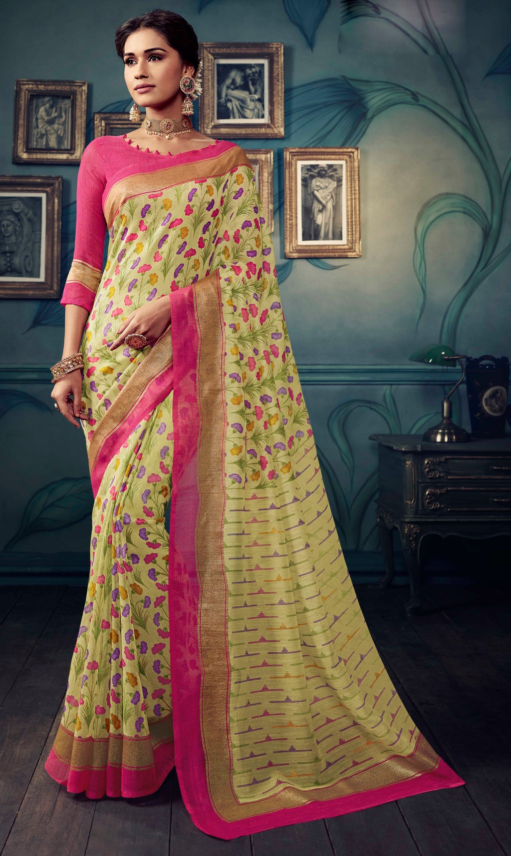 Multi Color Bhagalpuri Festive & Party Wear Sarees NYF-8605
