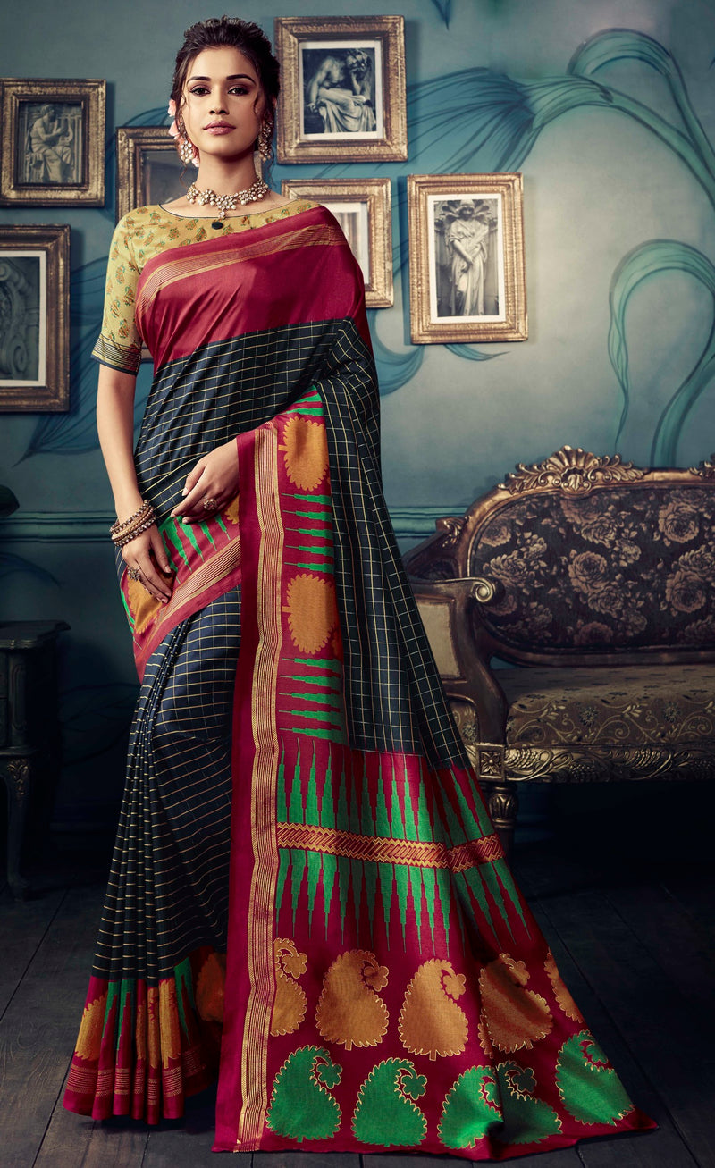 Blue & Magenta Color Bhagalpuri Festive & Party Wear Sarees NYF-8606
