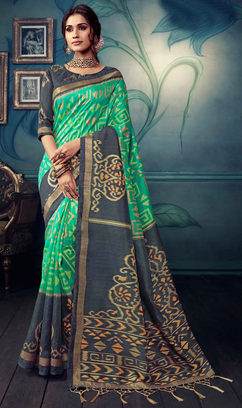 Grey & Green Color Bhagalpuri Festive & Party Wear Sarees NYF-8607