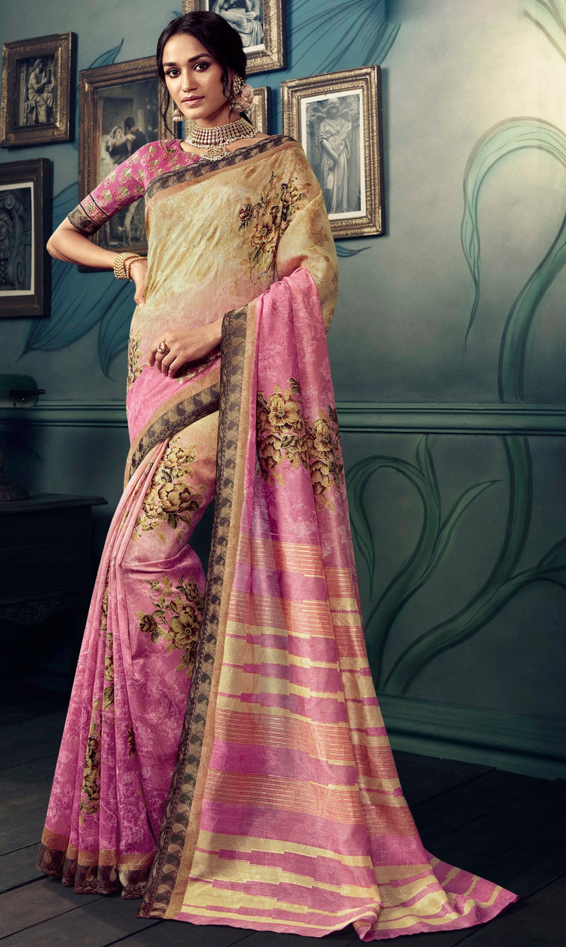Beige & Pink Color Bhagalpuri Festive & Party Wear Sarees NYF-8608