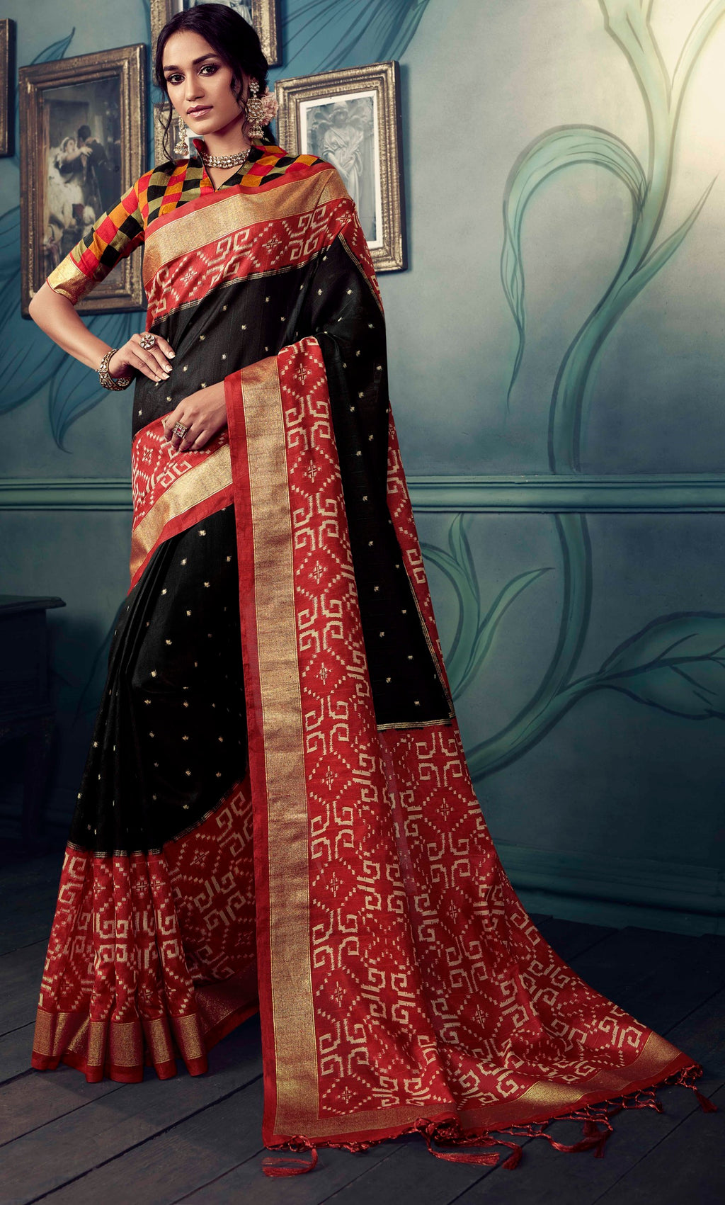 Black & Red Color Bhagalpuri Festive & Party Wear Sarees NYF-8615