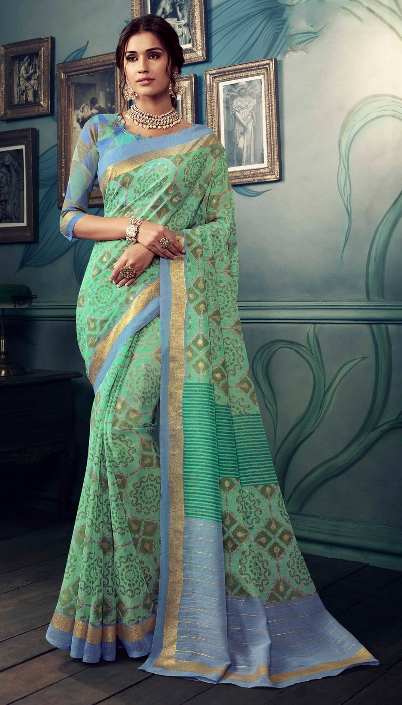 Pastel Green Color Bhagalpuri Festive & Party Wear Sarees NYF-8617