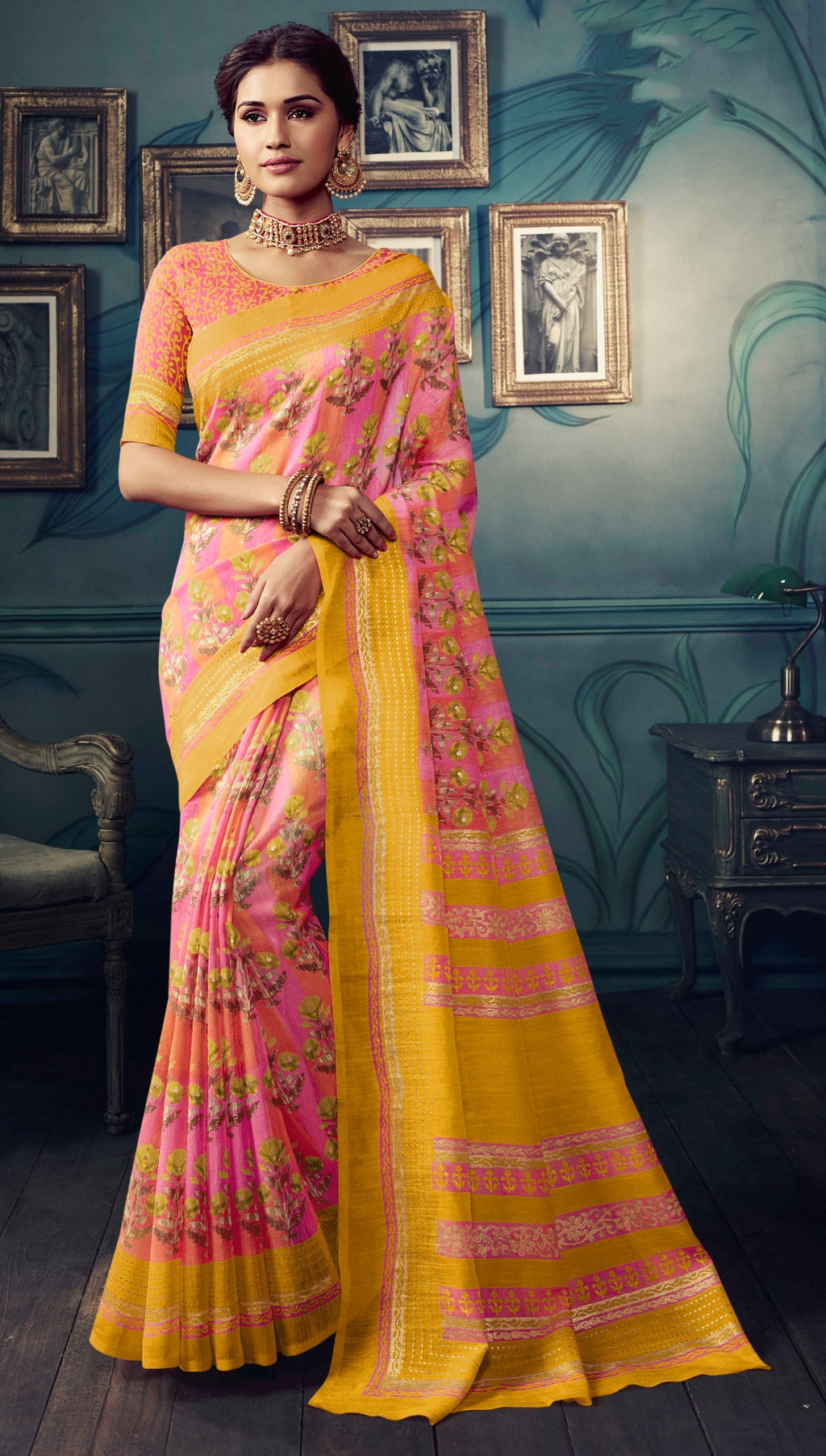 Pink & Yellow Color Bhagalpuri Festive & Party Wear Sarees NYF-8621