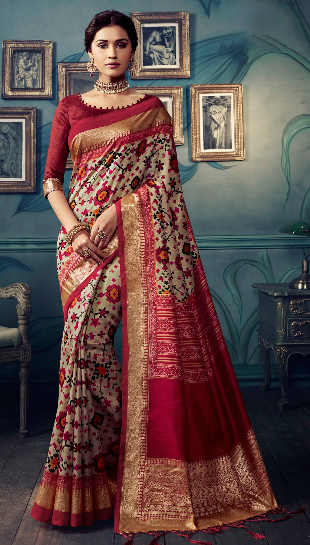 Off White & Maroon Color Bhagalpuri Festive & Party Wear Sarees NYF-8622