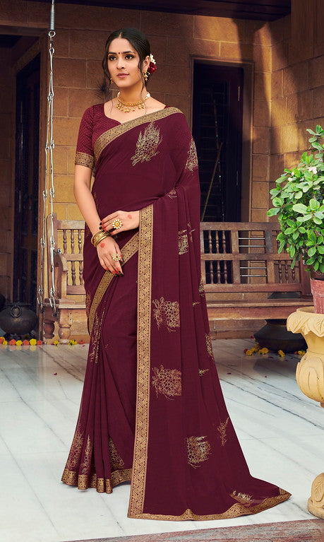 Magenta Color Georgette with Foil Print Kitty Party Wear Saree - Devina Collection YF#11084