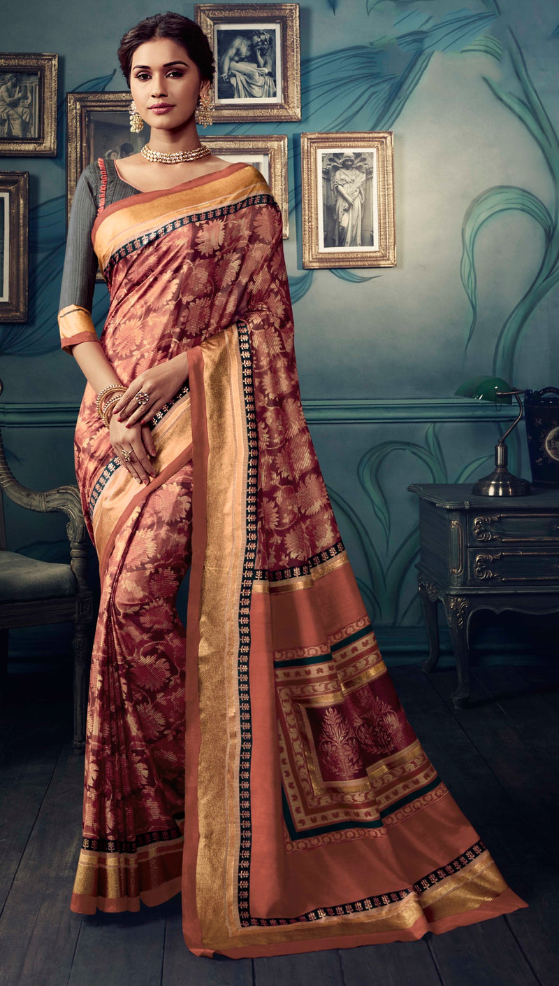 Maroon Color Bhagalpuri Festive & Party Wear Sarees NYF-8625