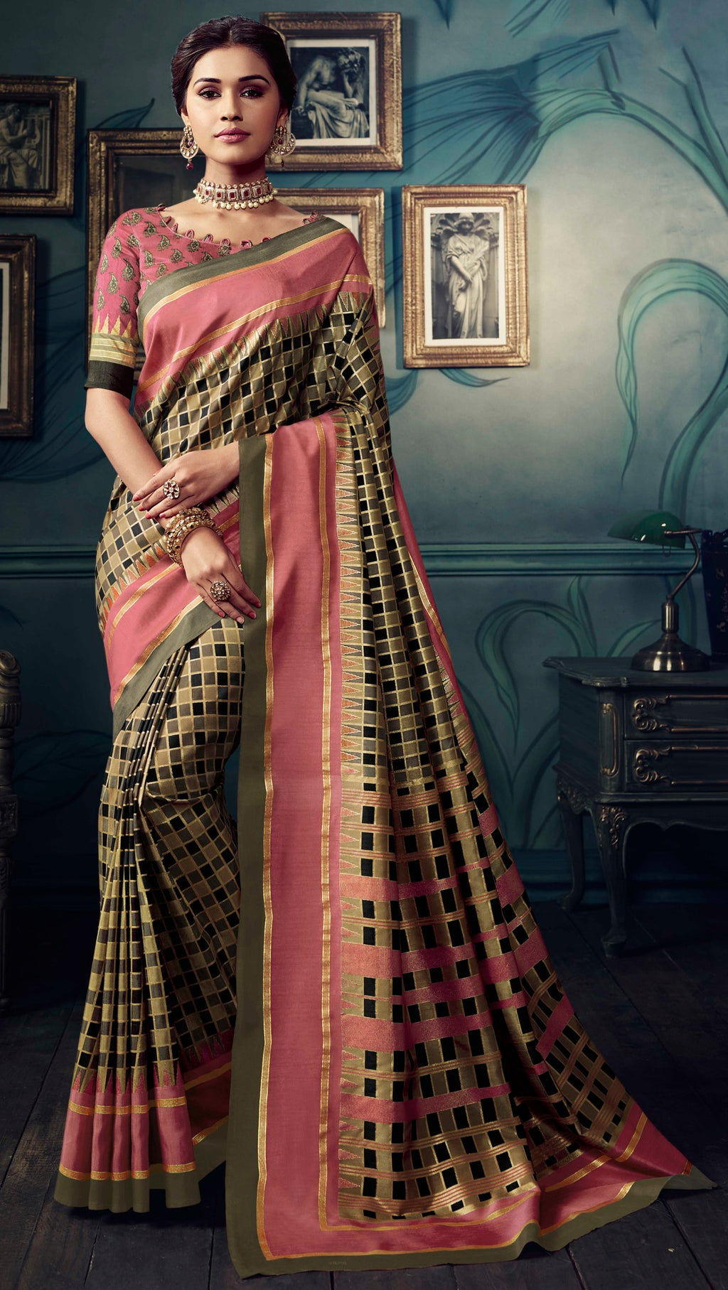 Black & Beige Color Bhagalpuri Festive & Party Wear Sarees NYF-8627