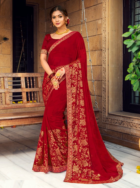Red Color Georgette with Foil Print Kitty Party Wear Saree - Devina Collection YF#11086
