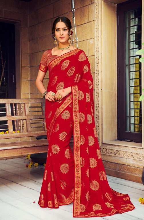 Red Color Georgette with Foil Print Kitty Party Wear Saree - Devina Collection YF#11089