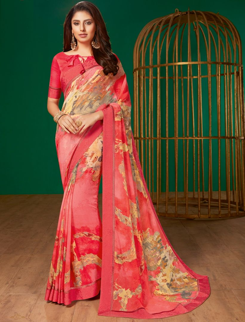 Pink Color Georgette Pretty Casual Sarees NYF-4990
