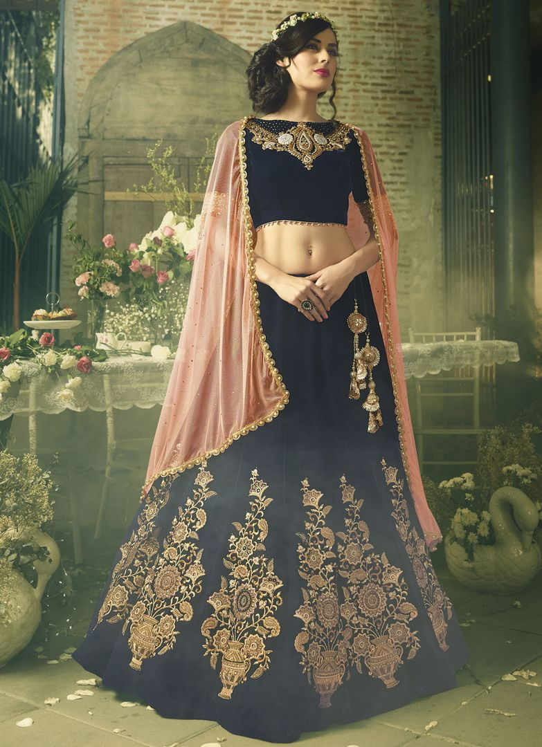 Navy Blue Color Velvet Designer Lehenga For Wedding Functions : Kreshti Collection  NYF-3286 - YellowFashion.in