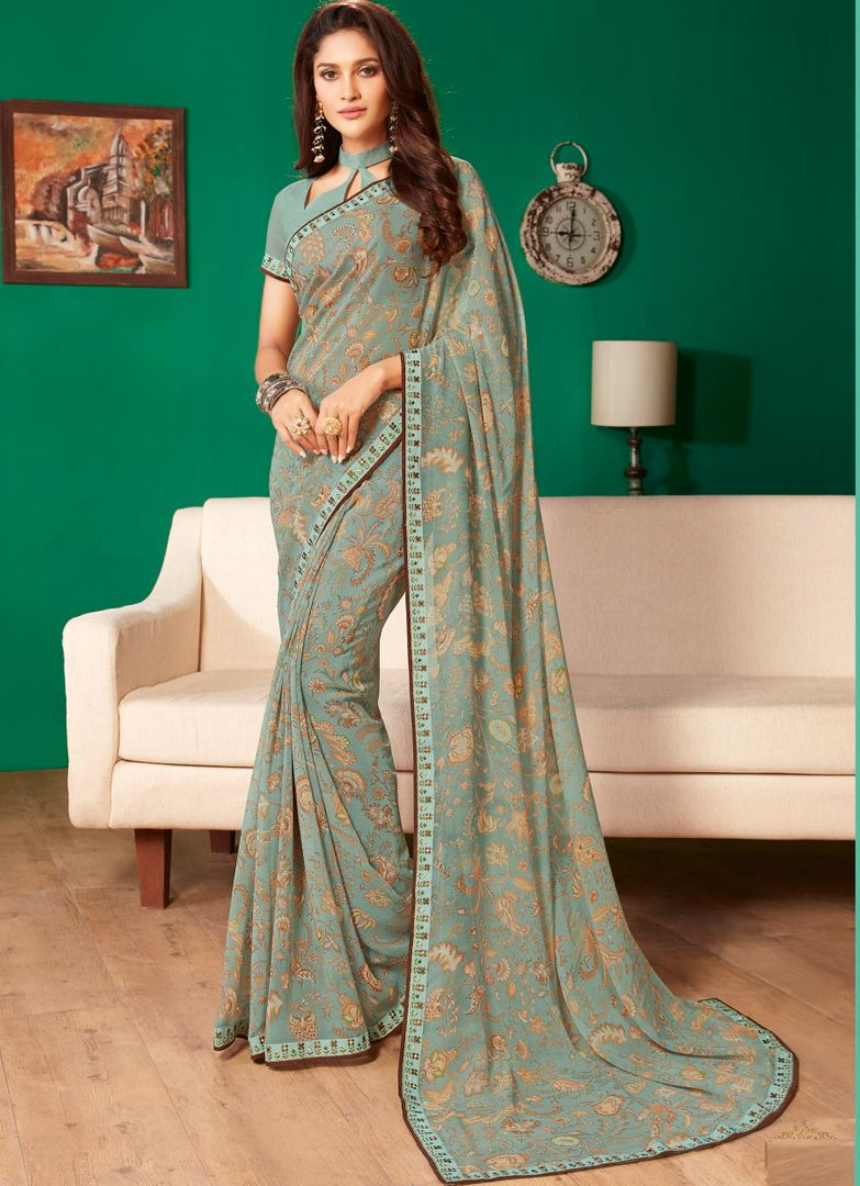Multi Color Georgette Pretty Casual Sarees NYF-4991
