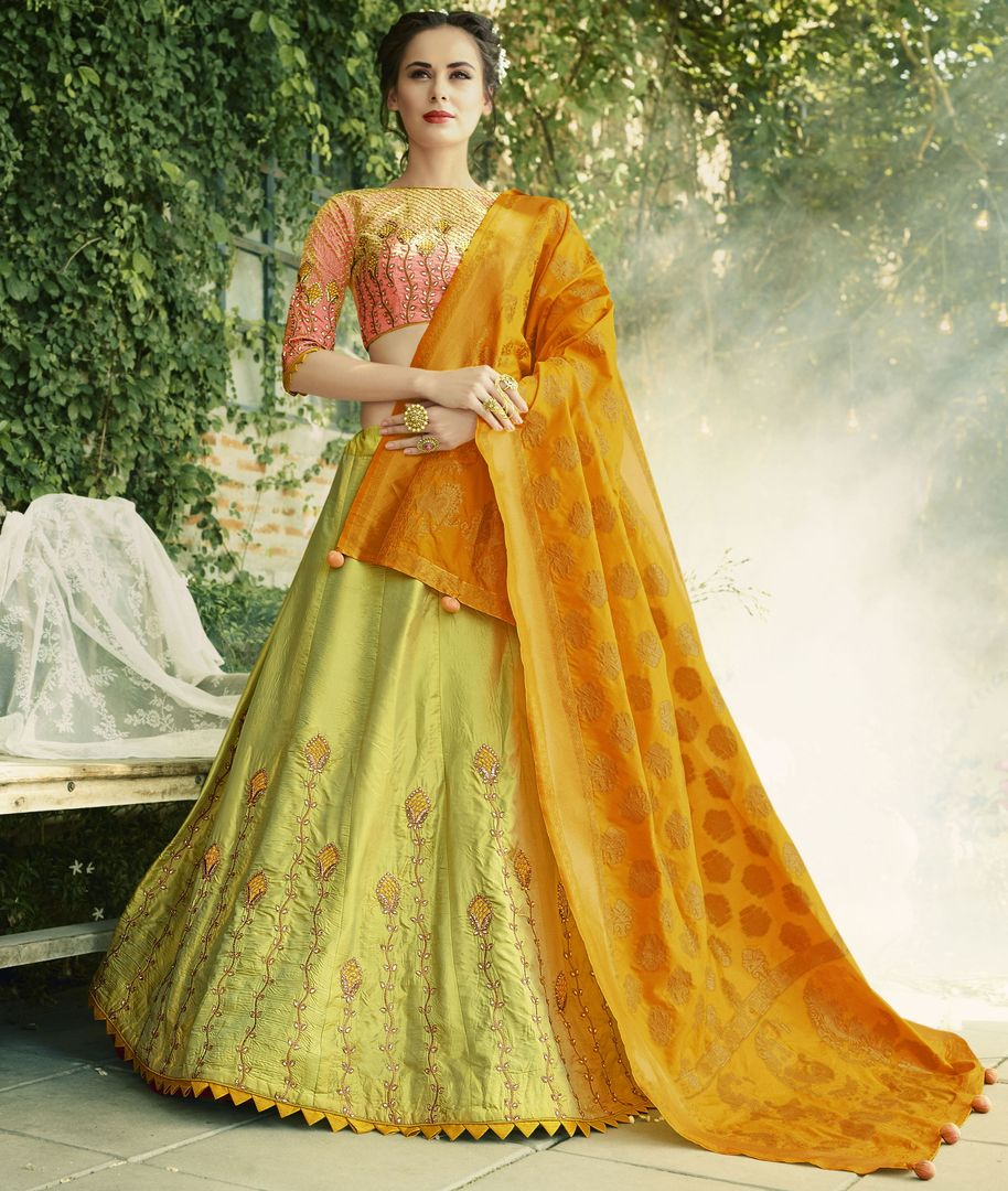 Lime Green Color Crepe Silk Designer Lehenga For Wedding Functions : Kreshti Collection  NYF-3287 - YellowFashion.in