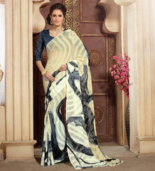 Light Yellow Color Chiffon Brasso Casual Party Sarees : Sachish Collection  YF-47630