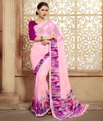 Pink Color Chiffon Brasso Casual Party Sarees : Sachish Collection  YF-47631