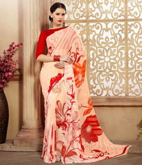 Peach & Orange Color Chiffon Brasso Casual Party Sarees : Sachish Collection  YF-47632