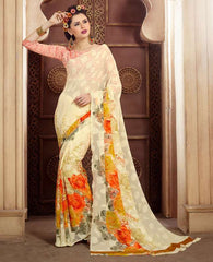 Light Yellow Color Chiffon Brasso Casual Party Sarees : Sachish Collection  YF-47637