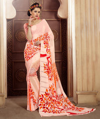 Pink & Orange Color Chiffon Brasso Casual Party Sarees : Sachish Collection  YF-47639