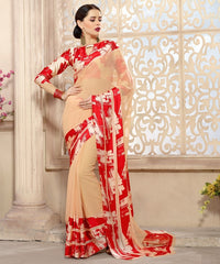 Light Coffee & Red Color Georgette Casual Wear Sarees : Kalkin Collection  YF-47621