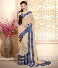 Light Coffee & Blue Color Georgette Casual Wear Sarees : Kalkin Collection  YF-47622