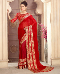 Red Color Georgette Casual Wear Sarees : Kalkin Collection  YF-47623