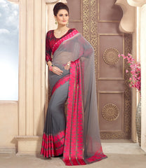 Grey Color Georgette Casual Wear Sarees : Kalkin Collection  YF-47624