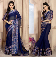 Blue Color Georgette Casual Wear Sarees : Kalkin Collection  YF-47627