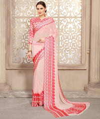 Baby Pink Color Georgette Casual Wear Sarees : Kalkin Collection  YF-47628