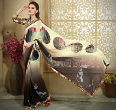 Cream & Brown Color Georgette Casual Party Sarees : Tripta Collection  YF-47733