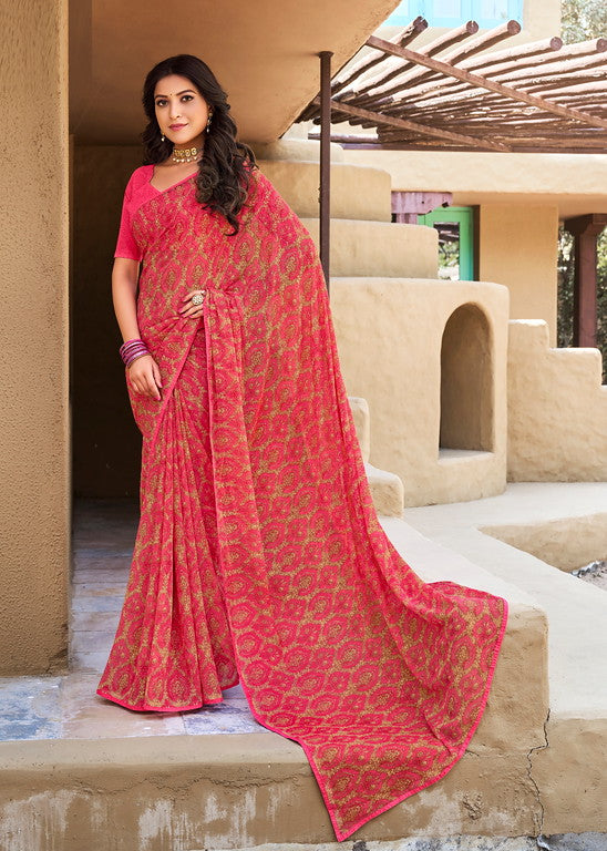 Pink Color Georgette Casual Wear Saree -   Yaashi Collection YF#10416