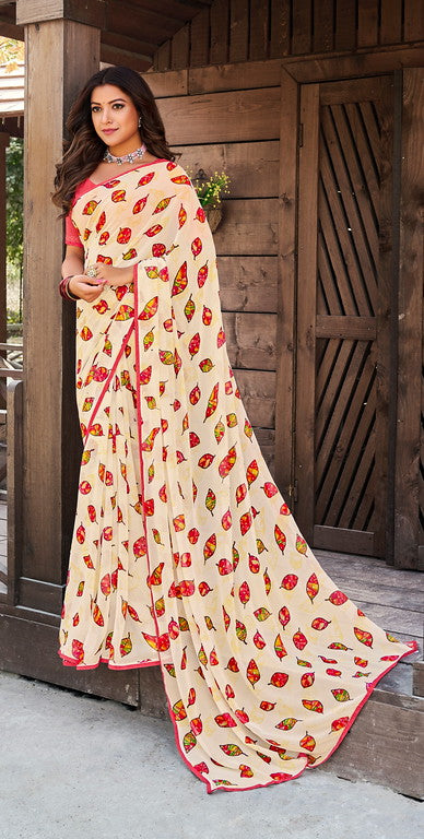Off white and Pink Color Georgette Casual Wear Saree -   Yaashi Collection YF#10419